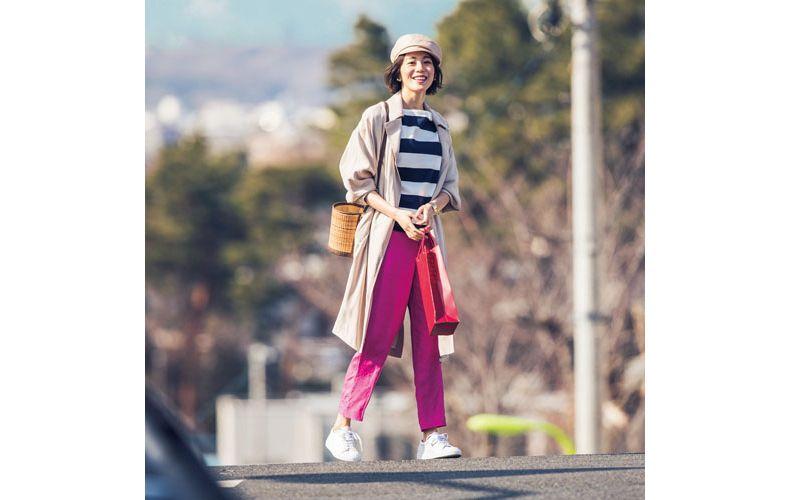 【5】ボーダーカットソー×ピンクパンツ×ザラのトレンチコート