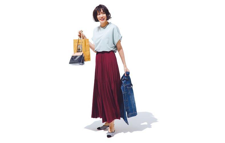 【4】水色トップス×ボルドープリーツスカート×デニムジャケット