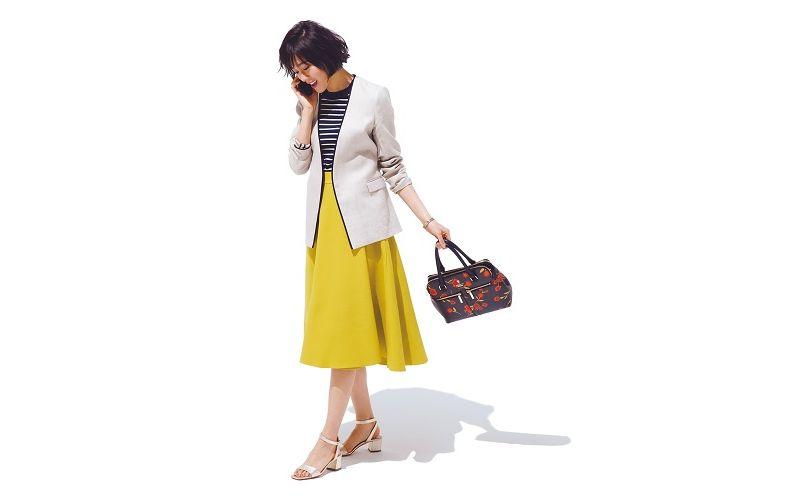 【8】白ジャケット×ボーダーニット×イエロースカート