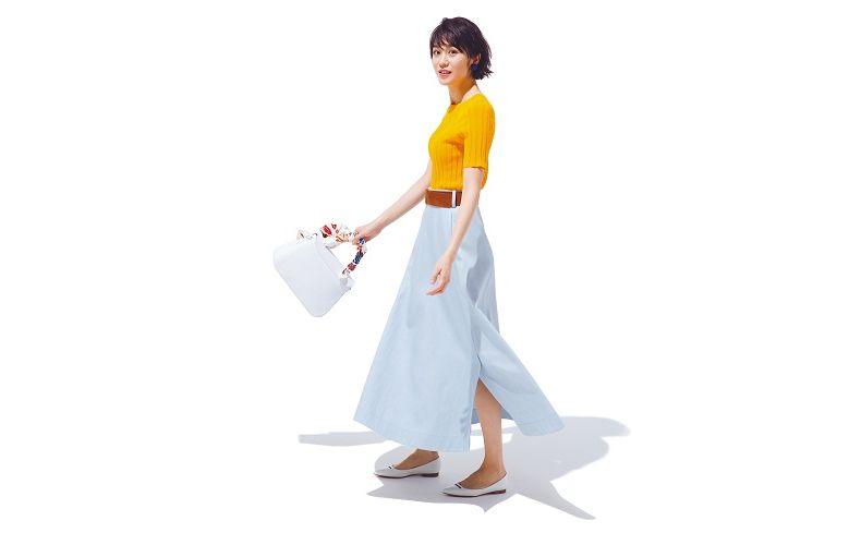 【2】水色スカート×オレンジニット