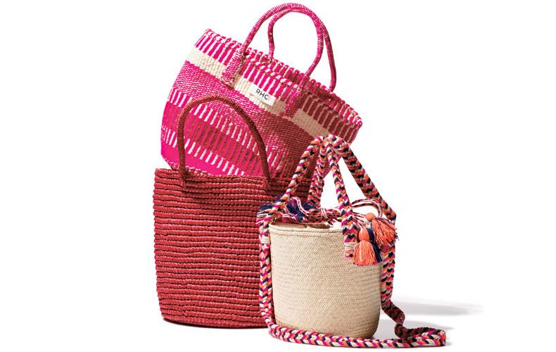 【1】ピンク&レッドかごバッグ