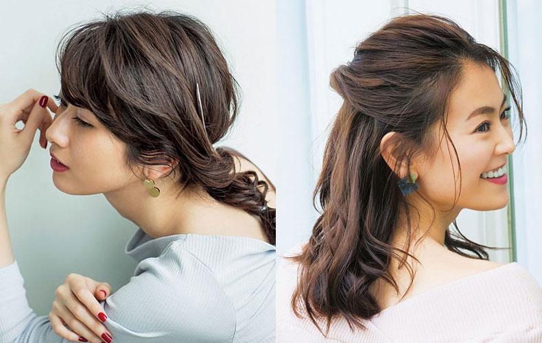 40代ロングヘアのまとめ髪|人気のくるりんぱも!セミ