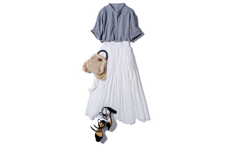 【2】白フレアロングスカート×チェックワイシャツ
