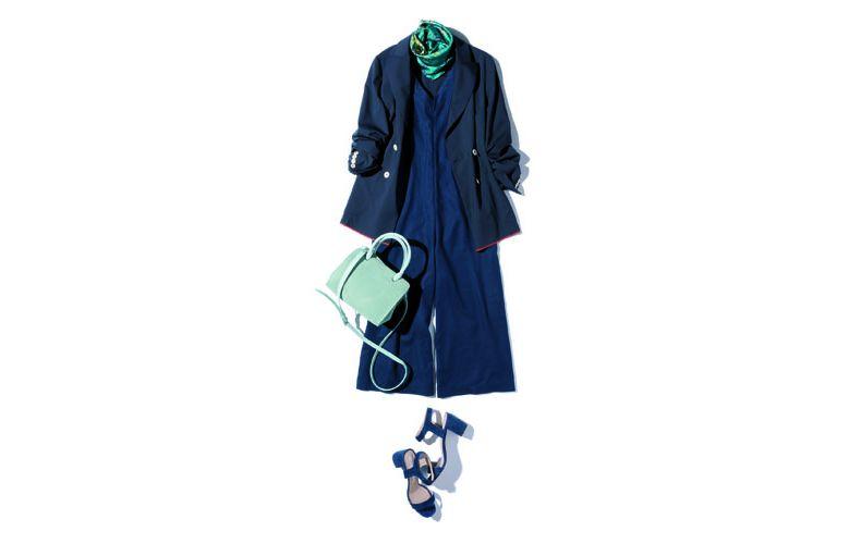 【3】ネイビーオールインワン×ジャケット×緑ショルダーバッグ