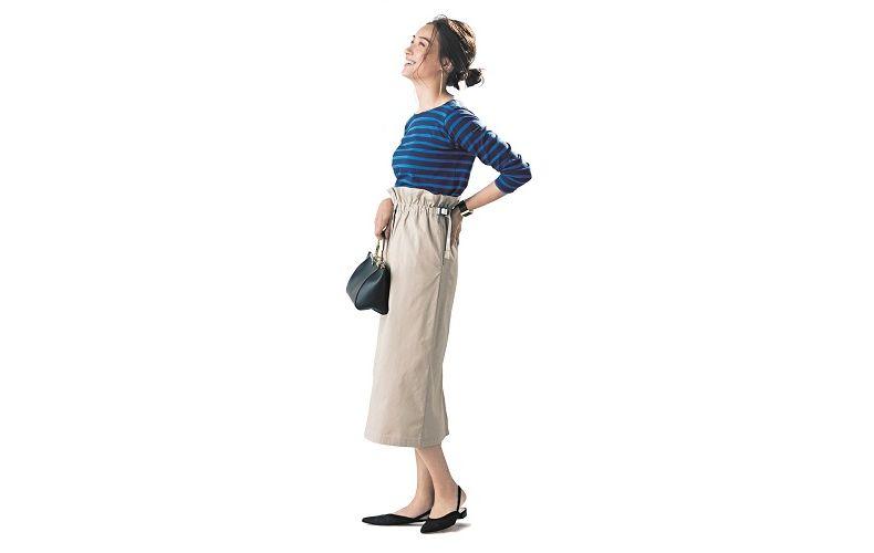 【1】ボーダーカットソー×ベージュタイトロングスカート