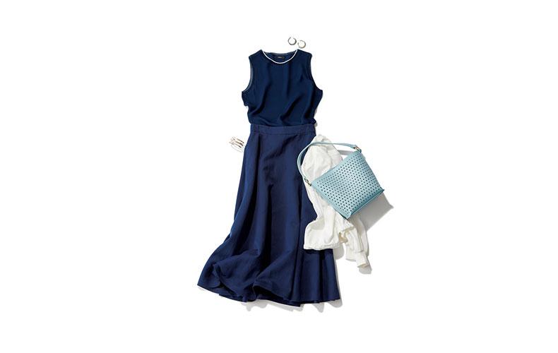 【3】紺ロングスカート×ノースリーブ紺ブラウス