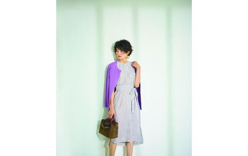 【1】紫カーディガン×ストライプワンピース
