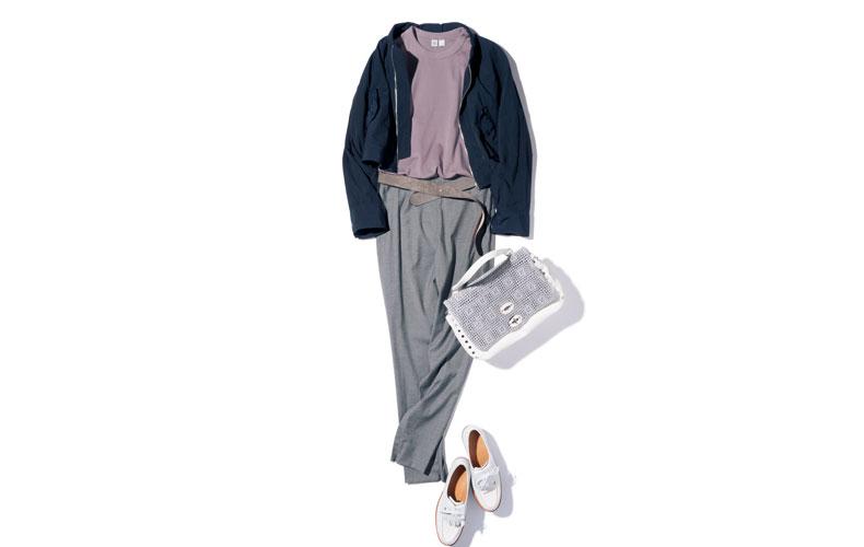 【3】ブルゾン×グレーパンツ×ユニクロのパープルTシャツ