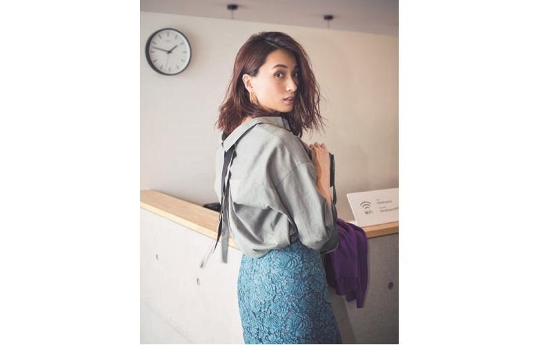【3】紫カーディガン×水色レーススカート×カーキシャツ
