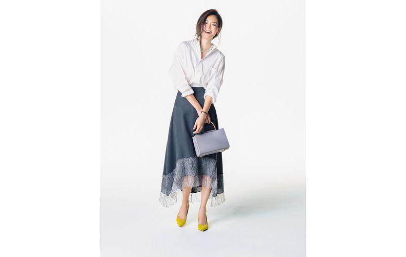 【1】ネイビー裾レーススカート×白シャツ