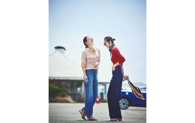 【4】赤ニット×スカーフ×デニムワイドパンツ