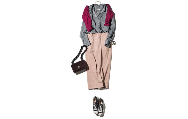 【6】ボルドーニット×グレーシャツ×ピンクコーデュロイタイトスカート