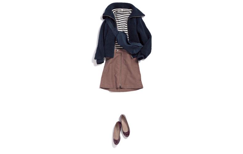 【3】黒ブルゾン×ボーダーカットソー×茶色スカート