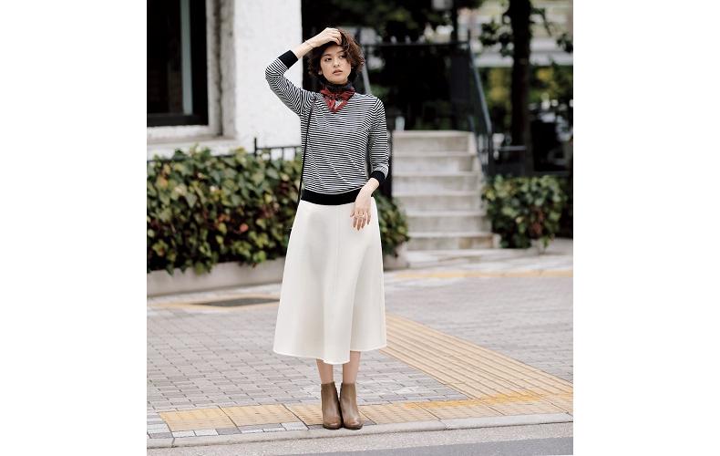 【1】ボーダーニット×ストール×白ロングスカート