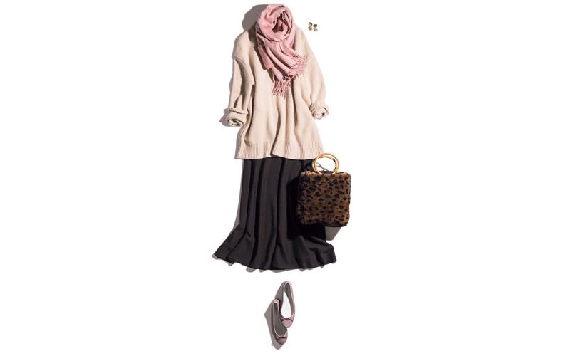 【7】ピンクストール×ベージュニット×茶フレアスカート