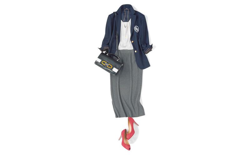 【6】グレースカート×グレーキャミソール×紺ジャケット