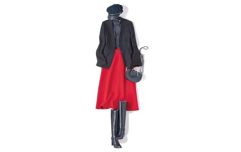 【2】黒ブラウス×赤フレアスカート×黒ノーカラージャケット