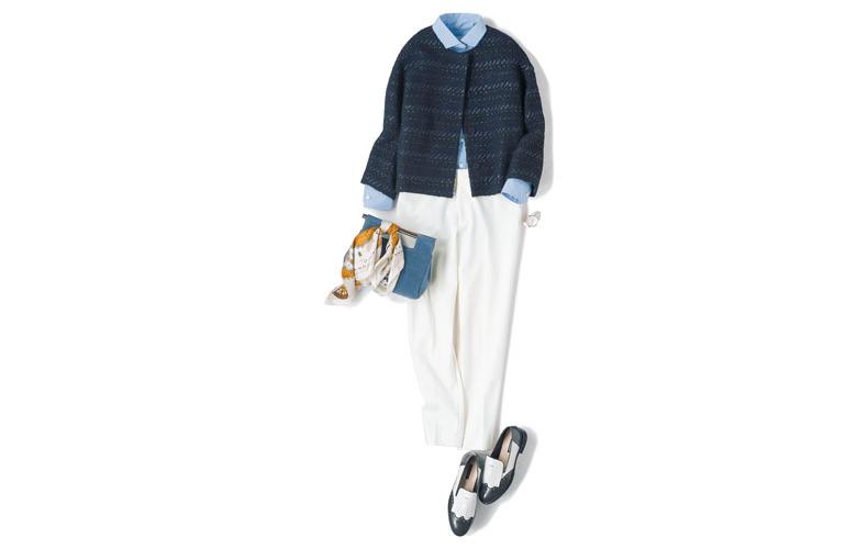 【9】ネイビージャケット×水色シャツ×白パンツ
