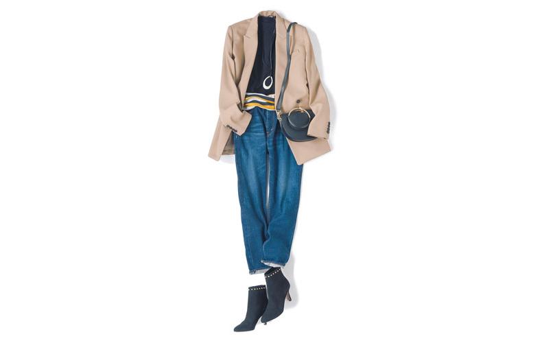 【3】黒ニット×ベージュジャケット×ブルージーンズ×黒ブーツ