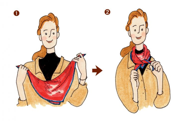 バンダナや小さめスカーフの小粋な巻き方