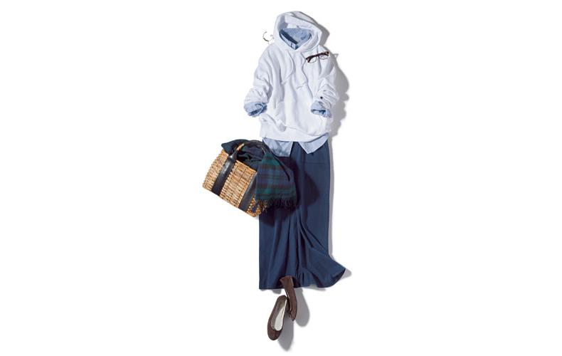 【2】水色シャツ×紺タイトスカート×白チャンピオンパーカー