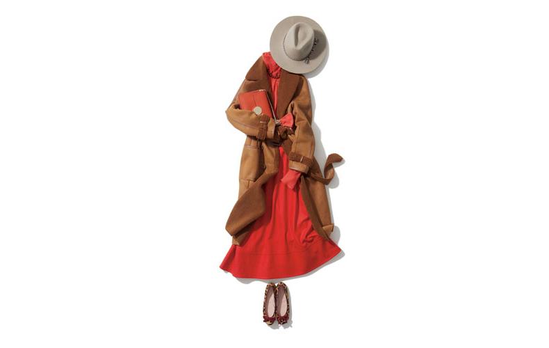 【1】ムートンコート×赤ニット×赤フレアスカート