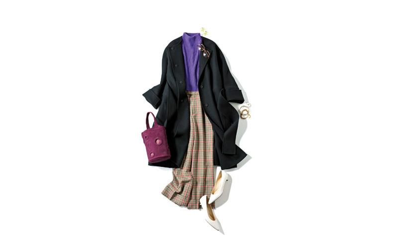 【4】黒コート×チェック柄パンツ×紫タートルネックニット