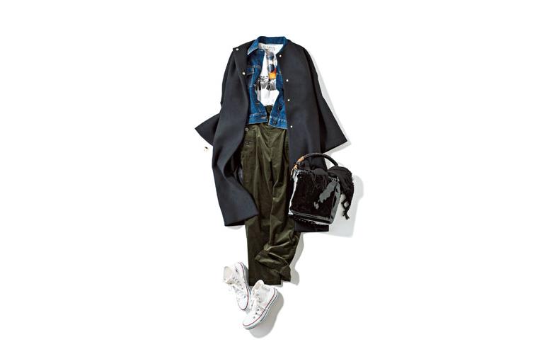 【2】黒コート×デニムジャケット×カーキパンツ