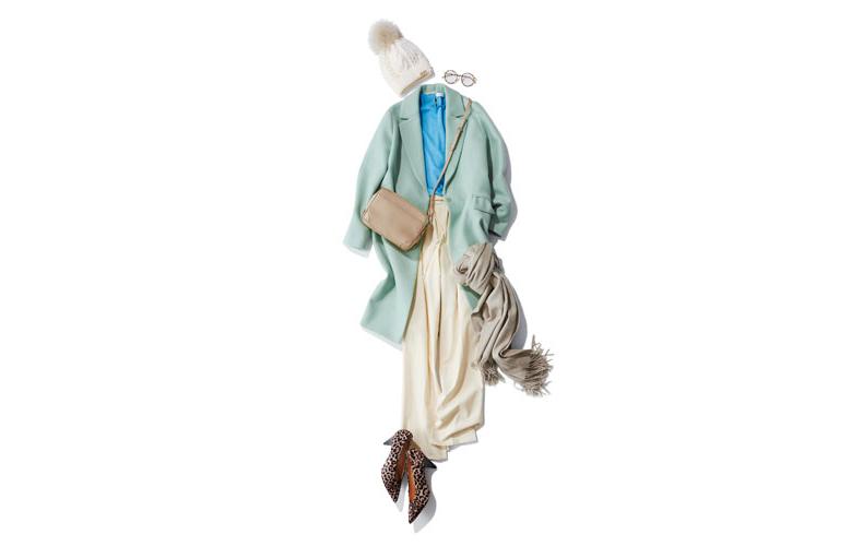【15】ミントグリーンコート×白パンツ×白ニット帽