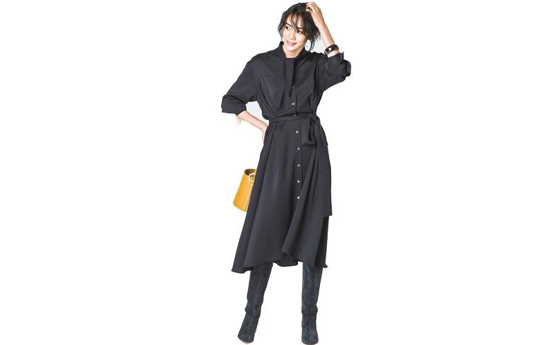 【3】黒シャツワンピース×黒ロングブーツ