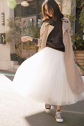 【5】ブラウンパーカ×白チュールスカート×ベージュトレンチコート