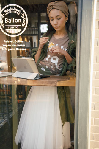【2】カーキコート×ベージュTシャツ×白チュールロングスカート