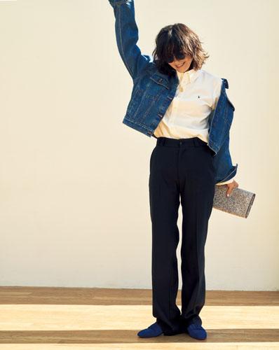 【4】白シャツ×黒パンツ×Gジャン