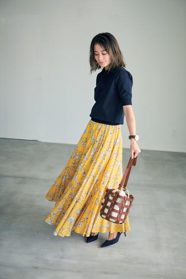 【7】ネイビーポロニット×イエロー花柄ロングスカート