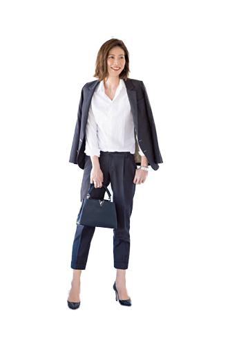 【7】チェックジャケット×白シャツ×黒パンツ
