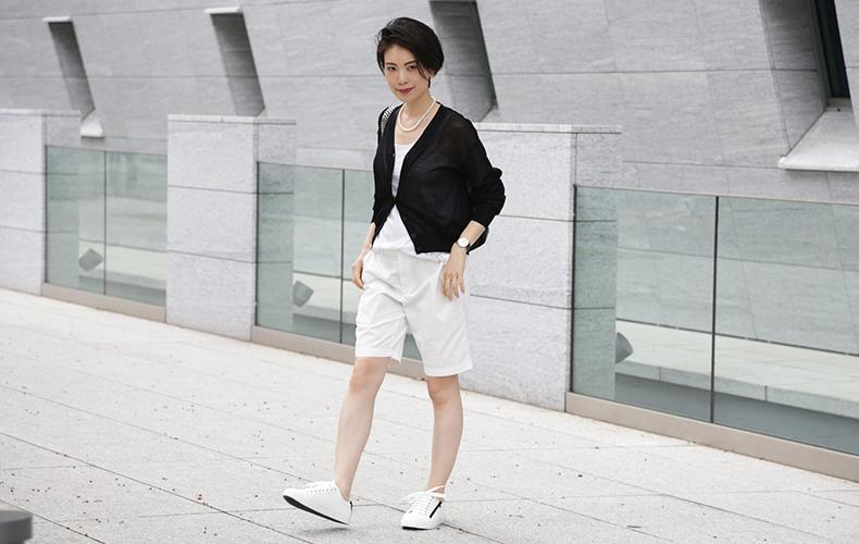【ユニクロ】のメンズハーフパンツを女らしく着こなす