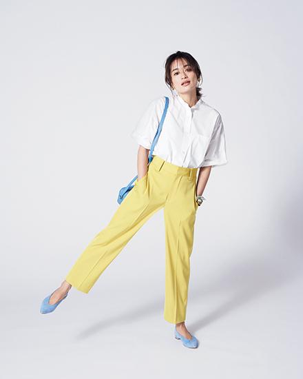 【4】黄パンツ×白シャツ