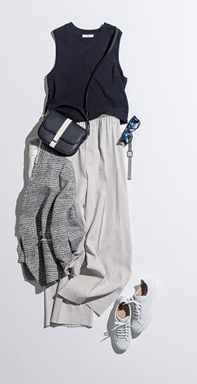 【4】黒タンクトップ×グレーワイドパンツ×ツイードジャケット
