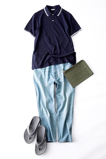 ポロシャツ×デニムパンツ