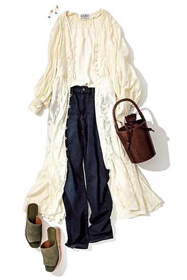 【1】白キャミソール×デニムパンツ×白ロングシャツワンピース
