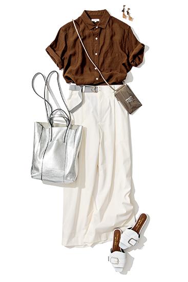【4】茶色の半袖ドレスシャツ×白ワイドパンツ