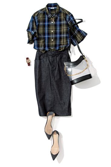 【2】チェック柄コットンリネンシャツ×デニムタイトスカート