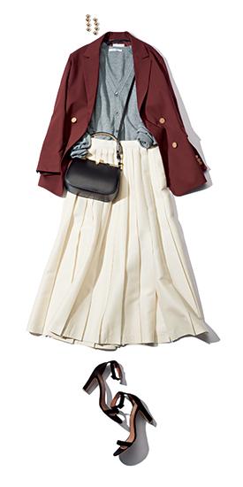 【4】グレーカーディガン×白プリーツスカート×ブラウンジャケット