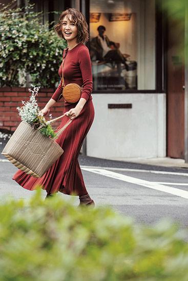 【4】ワインレッドニットアップ×ポシェット×大容量バッグ