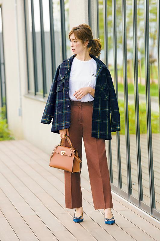 【2】チェックジャケット×白Tシャツ×茶色パンツ