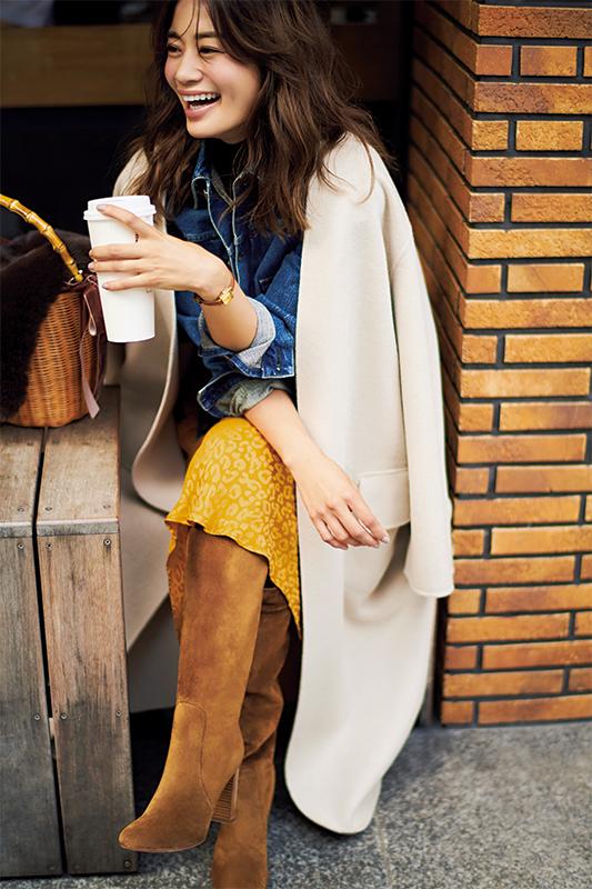【1】白コート×Gジャン×イエロースカート
