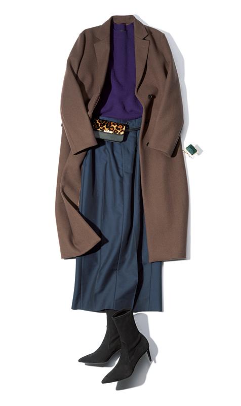 【2】茶コート×紺ロングスカート×紫ニット