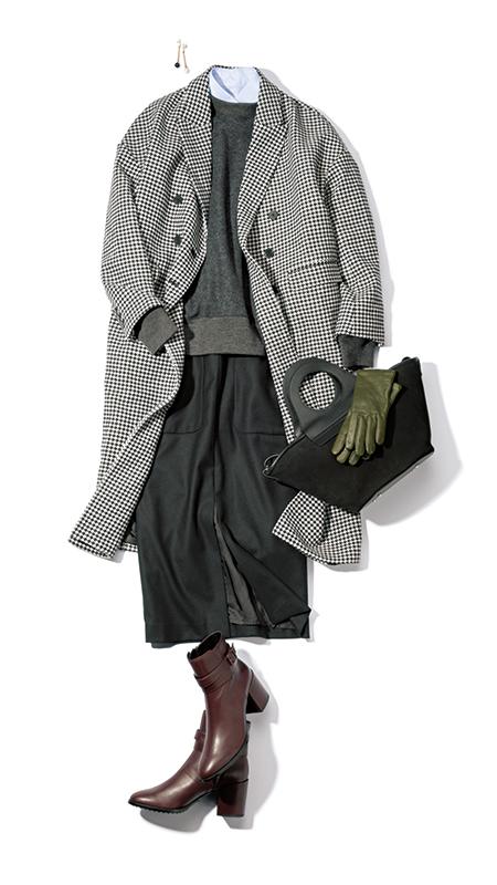 【2】チェック柄コート×黒スカート×白シャツ×グレーニット