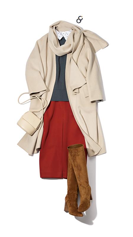 【1】白コート×赤スカート×ドット柄シャツ×グレーニット