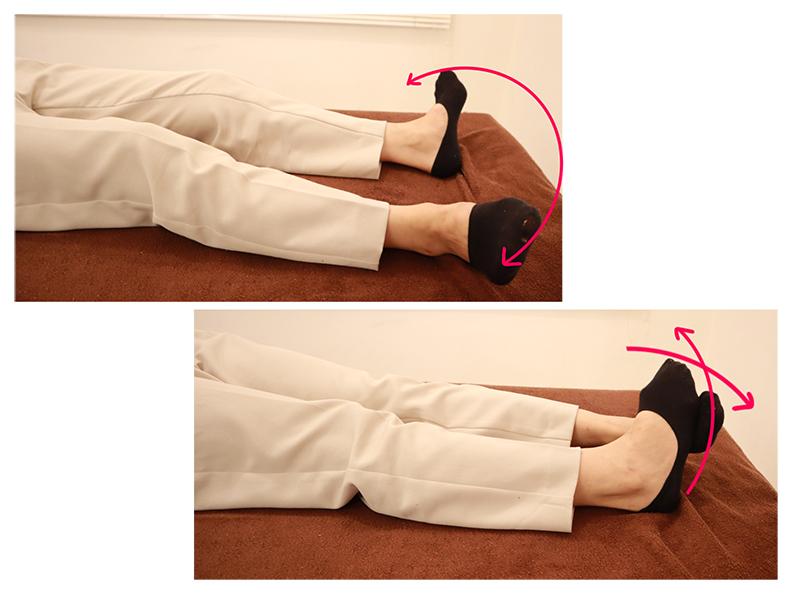 寝ながらできる足首ストレッチで筋肉を収縮